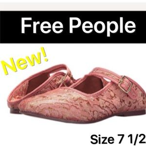 Free People Flat Pink Mules Lace Slip On 7 - 7 1/2